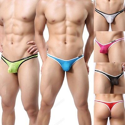 Men's Striped Gauze Sheer Underwear Sexy Capsular Bag Thongs Underpant  M -XL 38