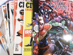 CIVIL-WAR-II-Sammlung-1-2-3-4-5-6-7-8-9-von-9-komplett-ALLE-12-Variant-Cover