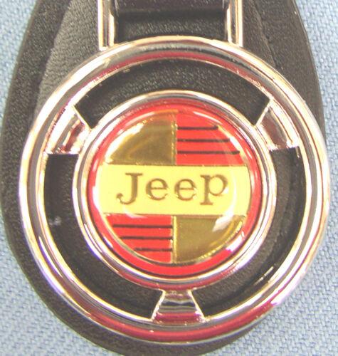 Vintage Classic JeeP Mini Steering Wheel Black Leather Key Ring 1974 1975 1976