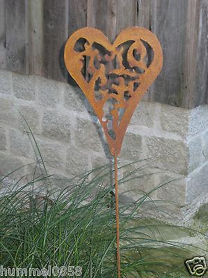 Edelrost Willkommen Blumenstecker Garten Rost Metall braun 40cm Landhaus