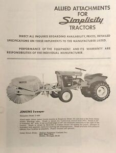 Details about Simplicity Allis WARDS Lawn Garden Tractor Allied Implement  Attachments Catalog