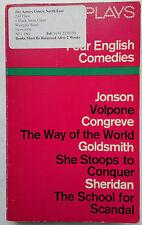 FOUR ENGLISH COMEDIES.JONSON-CONGREVE-GOLDSMITH-SHERIDAN.PENGUIN 1969 PL33