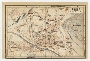 1930 ORIGINAL VINTAGE CITY MAP OF CHUR COIRE GRAUBUENDEN