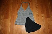 Womens Speedo Black White Tankini Black Swim Briefs 2 Pc Set 8