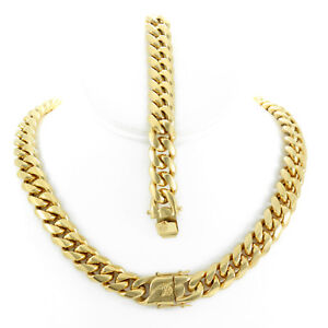 14mm-Men-039-s-Miami-Cuban-Link-Bracelet-amp-Chain-Set-18k-Gold-Plated-Stainless-Steel