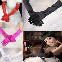 "Lady Long Gloves 22"" Satin Fancy Dress Finger Wedding Proms Evening Party Sexy"