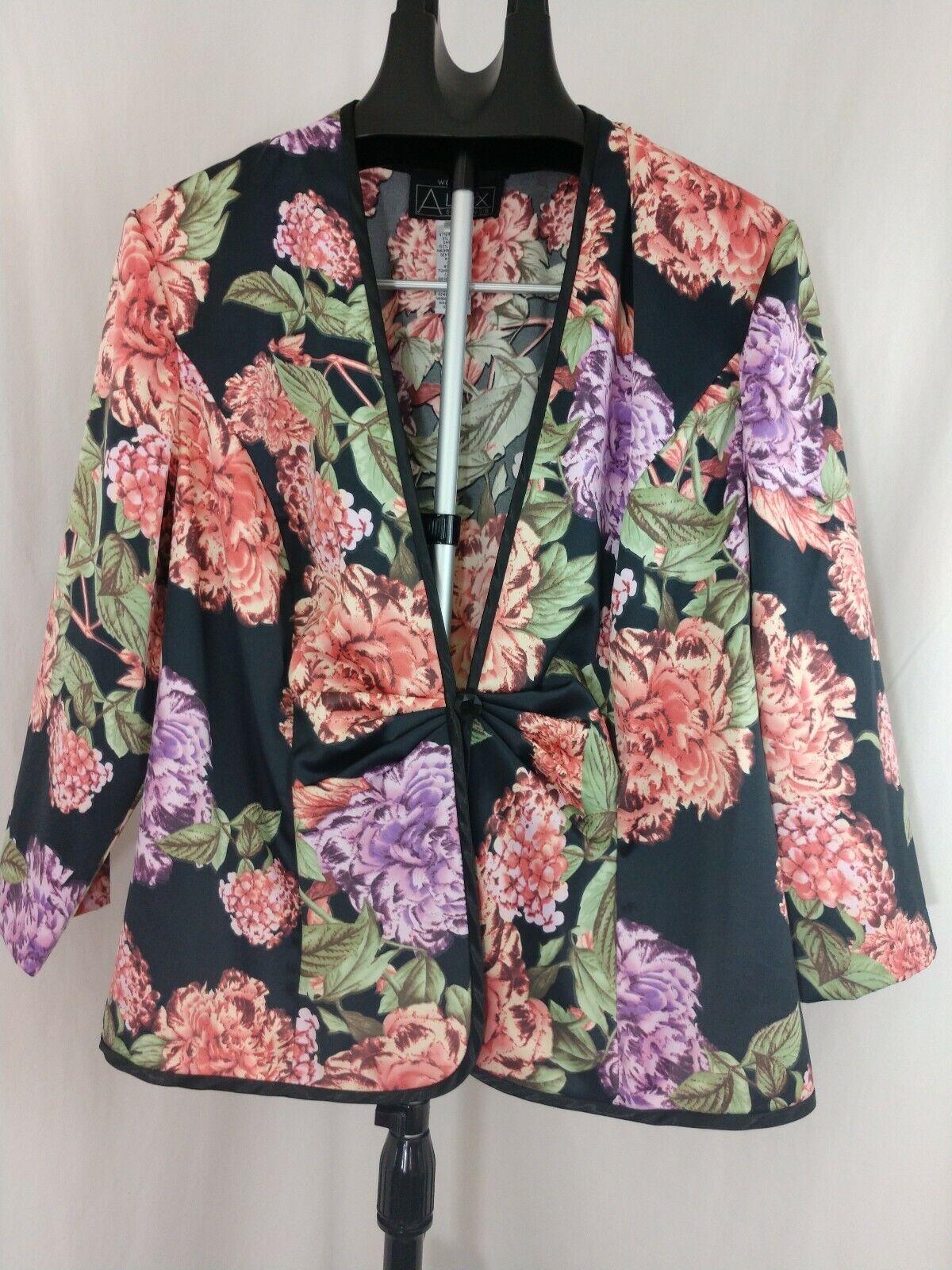 Alex Evenings Satin Floral Formal Jacket SZ XL