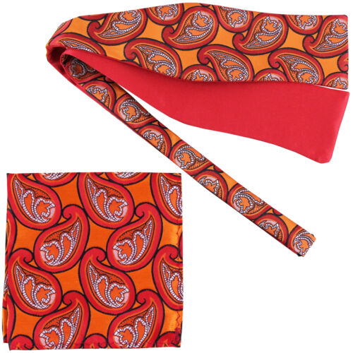 New formal Men/'s Paisley Self-tied Bow tie and Pocket Square Hankie orange red