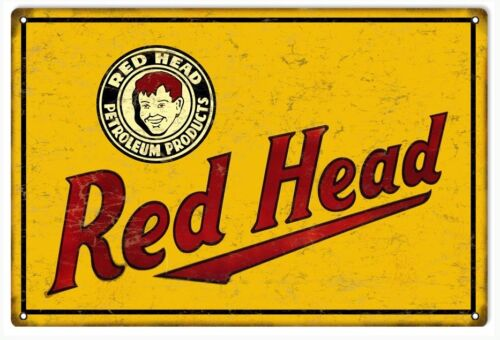 Red Head Petroleum Products Gas And Motor Oil Sign
