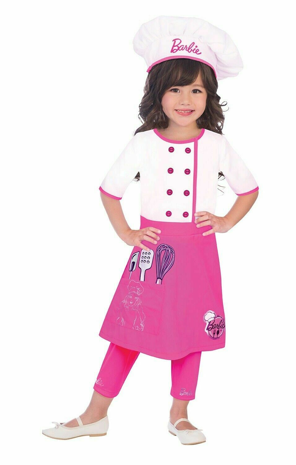 Girls Official Barbie Pretty Pink Chef Uniform Fancy Dress Costume Outfit