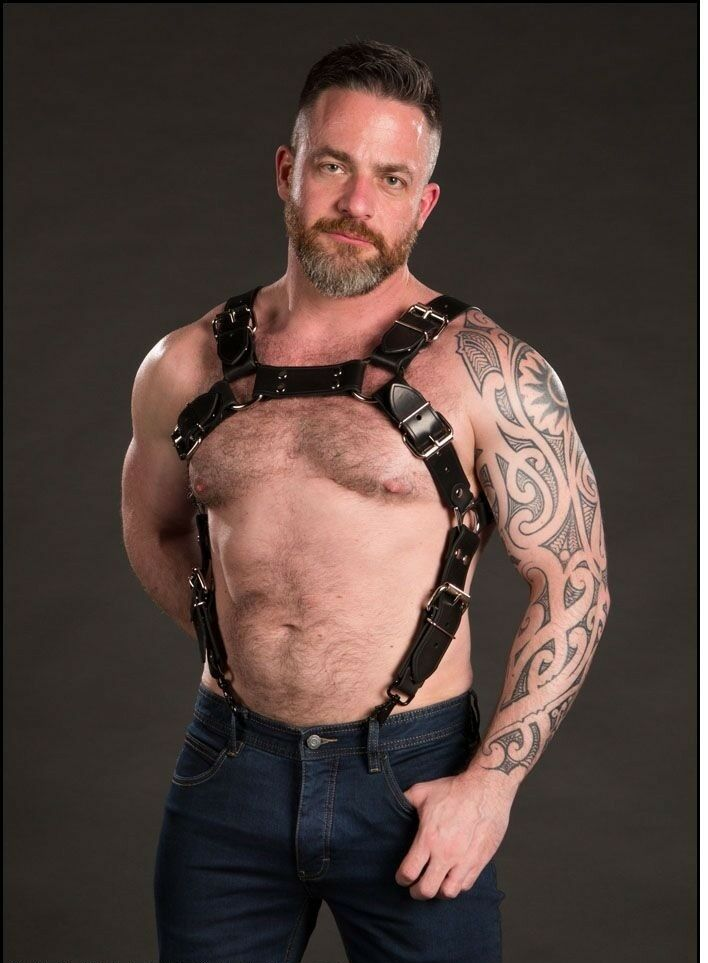 Men PURE Leather Bondage suspender Body Harness
