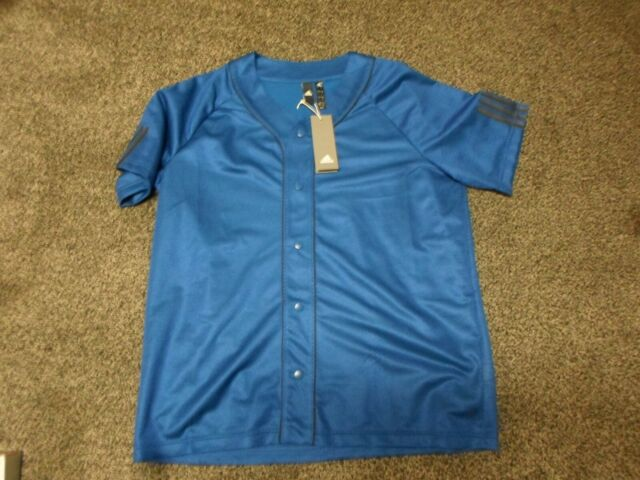 ADIDAS $45 S/S Button-Down-Front Sport Jersey Mens sz L Large Mesh Shirt NEW NWT