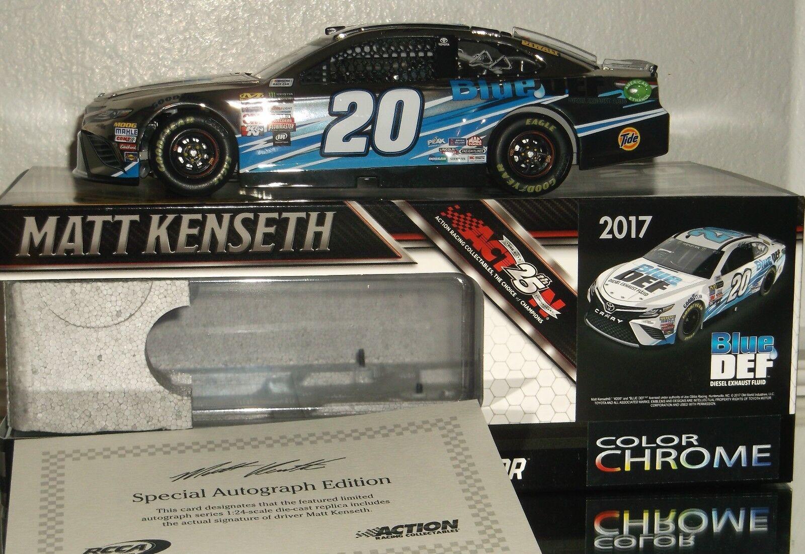 2017 MATT KENSETH KENSETH KENSETH  20 blu DEF AUTOGRAPHED COLOR CHROME 1/24 CAR 44/48 W/F COA 94cc2e