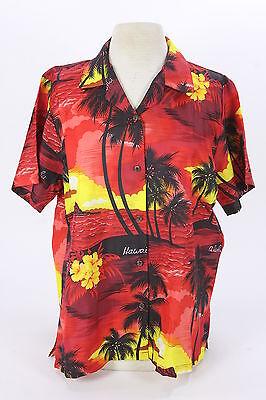 Royal Creations Womens Sz Lg Hawaii Made Shirt Blouse Red Yellow Palm Trees