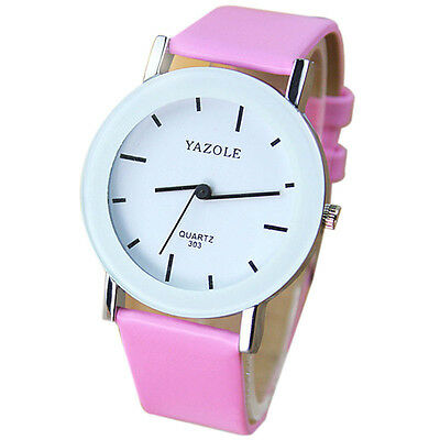 Fashion Unisex Watch Leather Band Quartz Anolog Watch Scale Dislocation Watches