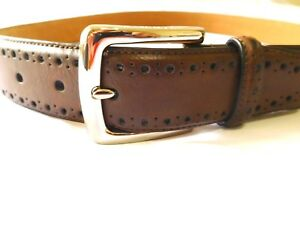 e778fcb028b Cole Haan Belt Men Size 38 Perforated Trim Dress Belt CHOCOLATE New ...