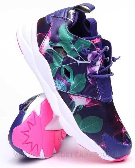 Reebok furylite Gráfico Floral Azul Marino púrpuraa para Mujer Zapatos Clásicos Auténtico