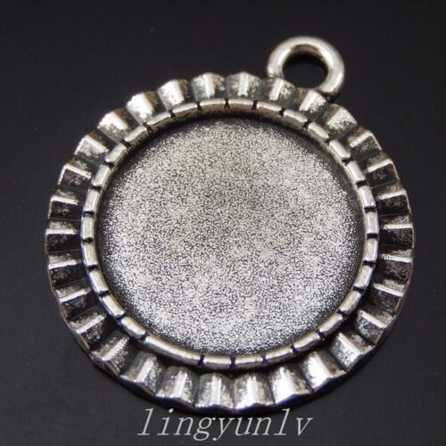 20 Pieces Vintage Silver Alloy Round Shaped Cameo Setting 18x18mm Pendants 50246