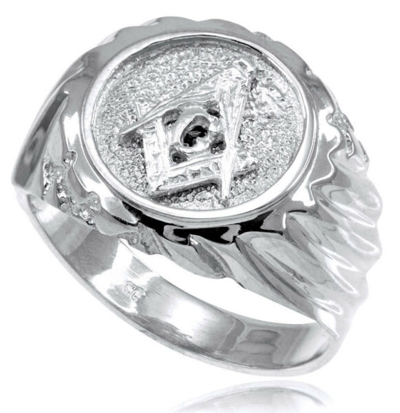 14k Echt Weißgold Freimaurer Herren Ring