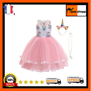 Unicorn Party Fille Costume Robe Licorne Enfant de Princesse