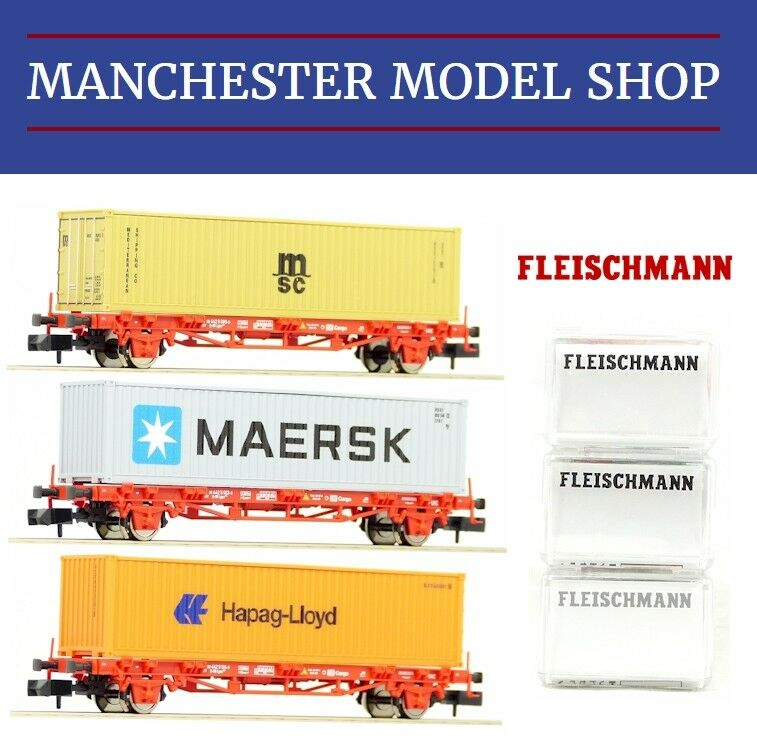Fleischmann N 1:160 3-piece set Container-Tragwagen DB AG V-VI NEW BOXED