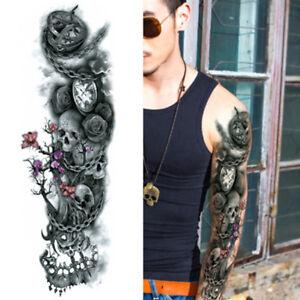 Chain Roses Skulls Black Full Arm Temporary Tattoo Sleeve Body