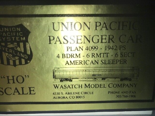 WASATCH BRASS HO UNION PACIFIC 4 BDRM, 6 RMTT,6 SECT AMERICAN SLEEPER