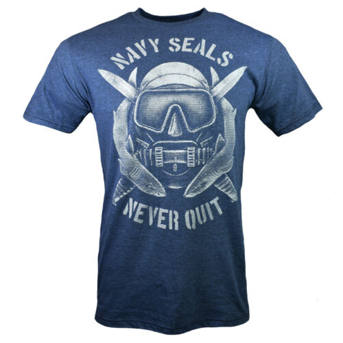Blue NAVY SEALS-Diving Sharks New. Men/'s T-shirt-Never give Up,Never Quit-U.S
