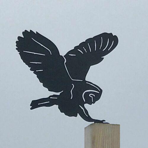 Owl Flying Métal Jardin Clôture Topper