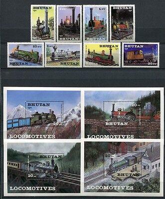 BHUTAN 1984 Eisenbahn Trains Railways 852-859 + Block 106-109 ** MNH