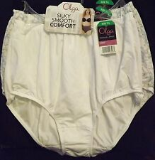 SET OF 3 OLGA WITHOUT A STITCH MICRO BRIEF PANTY WHITE/BLACK/SCROLL 7/L NEW TAGS