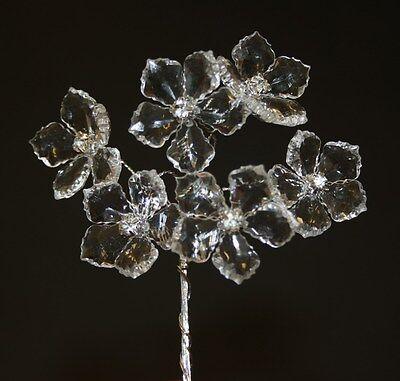 Ice diamante centre flower spray x6 stems wedding bouquet buttonhole craft L313