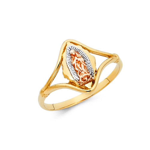 Women 14k Yellow Tri Tone Real Gold Religious Virgin Mary Guadalupe Ring Band