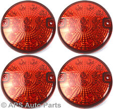 4 x 12/24v 14 LED Hamburger Rear Fog Light Red E4 Round Trailer Car Van New
