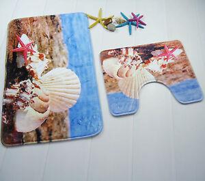 sea beach shell bath mat set 2 piece toilet rug bathroom