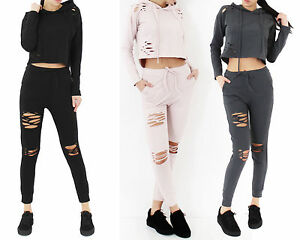 b9d6b740d1 Image is loading Womens-Ladies-Disttressed-Ripped-Hooded-Crop-Top-Joggers-