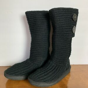 Ugg-Black-Sweater-Winter-Boots-Womens-Size-3