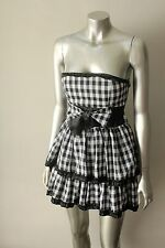 Gingham Retro Pin up Ruffle Mini Strapless Burlesque Black White Mini Dress xs