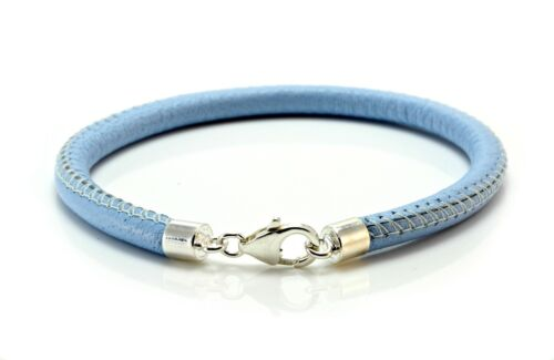 Mens//Ladies 5mm Nappa Leather Bracelet-925 Sterling Silver Clasp-Light Blue