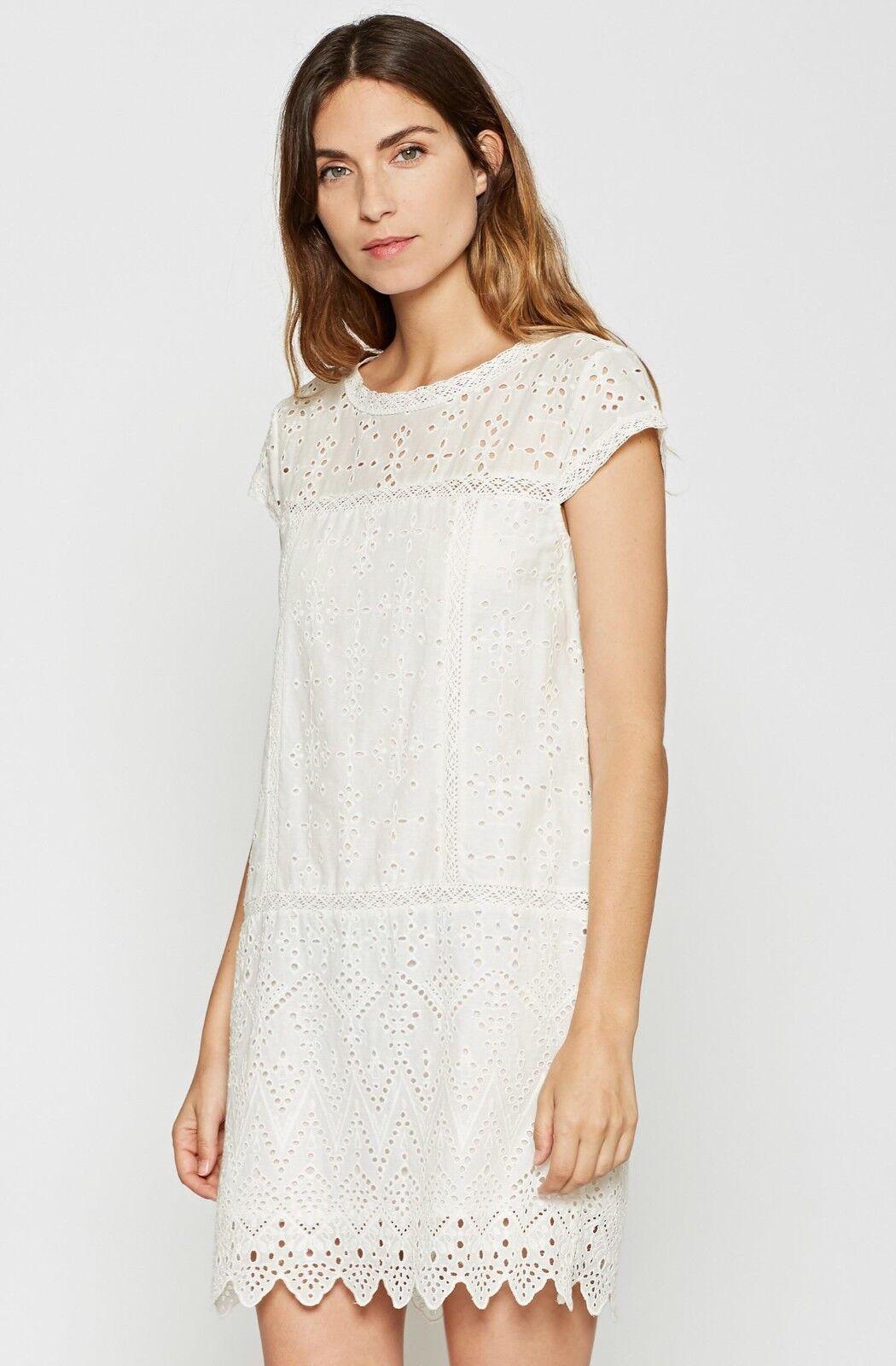 JOIE Delayna Eyelet Cotton Mini Dress Porcelain XS  Nwt