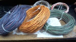 4 ft coil Western Electric 22ga solid core,CLOTH covered 1940s SILK pair
