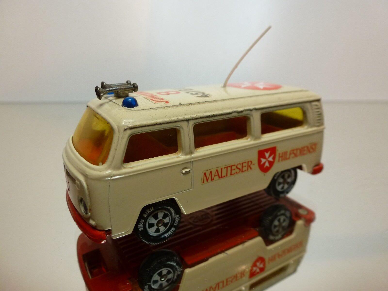 SIKU VW VOLKSWAGEN T2 buss - AMBULANCE MALTES HILFSDIENST - CRAM L7.0cm GOD