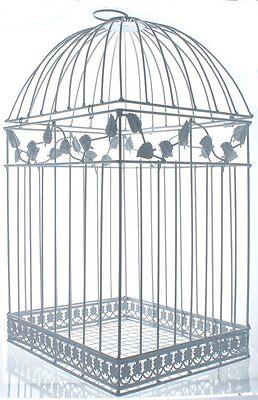 "NEW White Birdcage Wedding Card Holder Metal  16"" x 9"" x 8"" Open Latch Top"