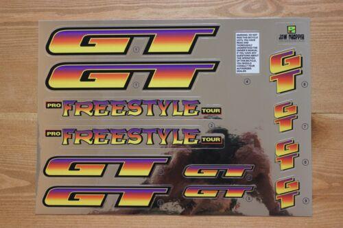 Reproduction 1996 GT Pro Freestyle Tour BMX Decal Set-Chrome Support