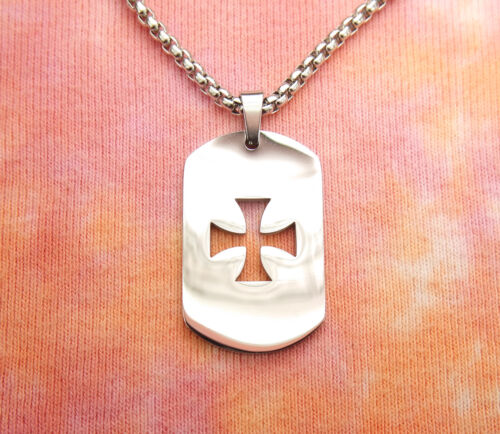 Maltese Cross Dogtag Necklace Pure Stainless Steel Iron Cross Knights Templar