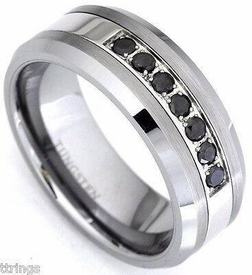 Men's Black Diamond Tungsten Carbide Wedding Band Ring 0.25 Carat Anniversary