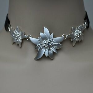 Details zu EDELWEISS Kette Halskette Dirndl Trachten Schmuck Kropfband schwarz Collier NEU