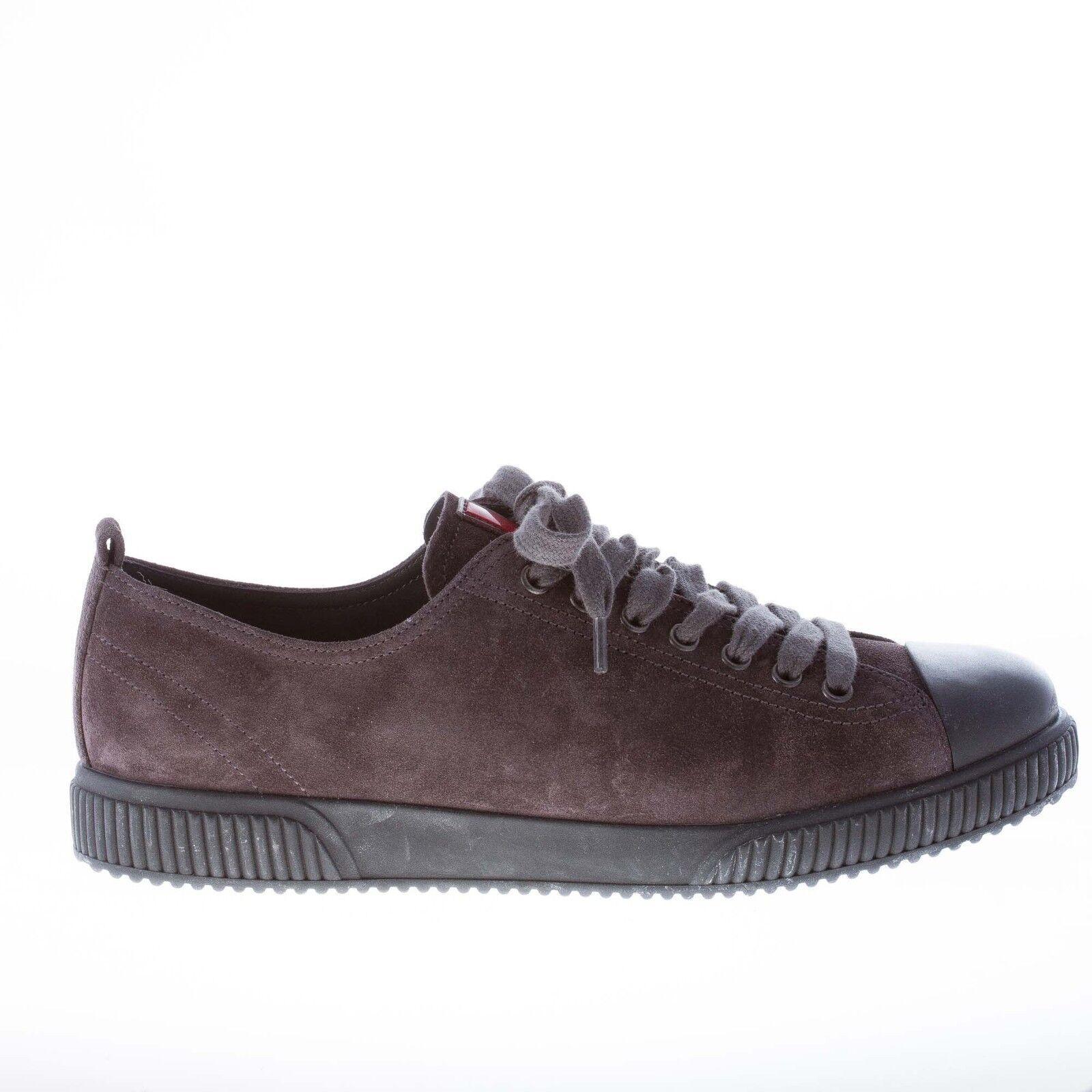 PRADA herren schuhe lace men schuhe Grau suede lace schuhe sneaker with rubber reinforced toe 092954