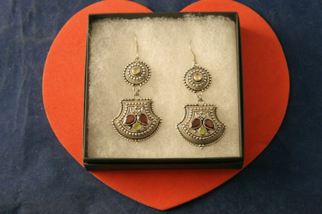Beautiful Silver Earrings With Garnet Citrine Peridot 18.8 Gr 5 Cm.Long + Hooks