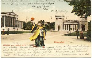 AK München, Königsplatz mit Münchner Kindl, gel. am 21.8.1904